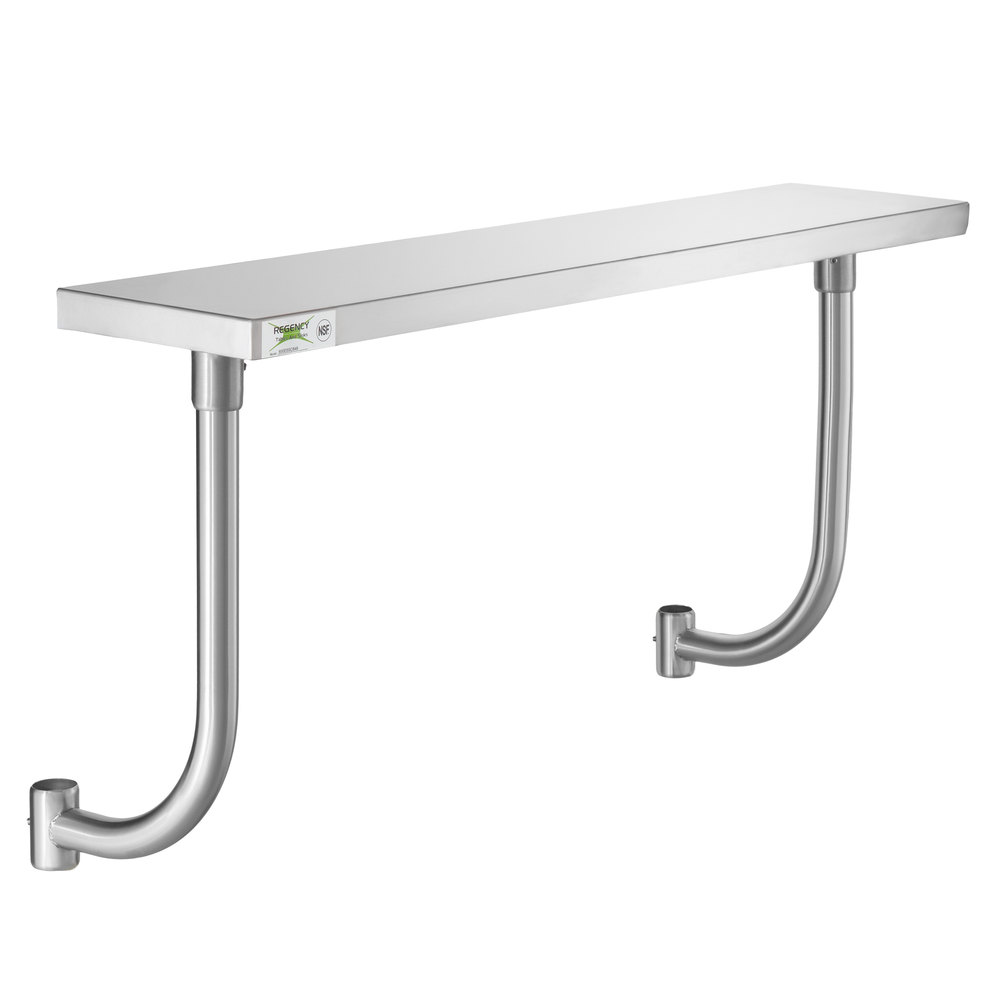 Regency 10 inch x 48 inch Stainless Steel Adjustable Work Surface for 48 inch Long Equipment Stands