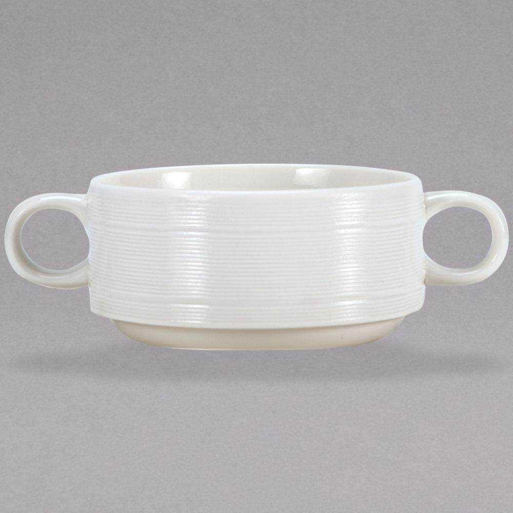 Oneida L5650000791 Manhattan 8 13 Oz Warm White Porcelain Soup Cup With Handles 24 Case