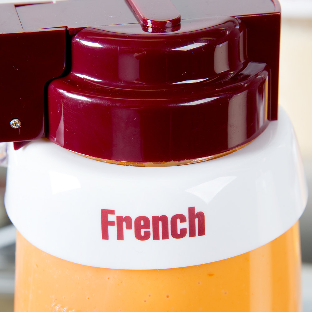"Tablecraft CM2 Imprinted White Plastic ""French"" Salad Dressing Dispenser Collar with Maroon Lettering"