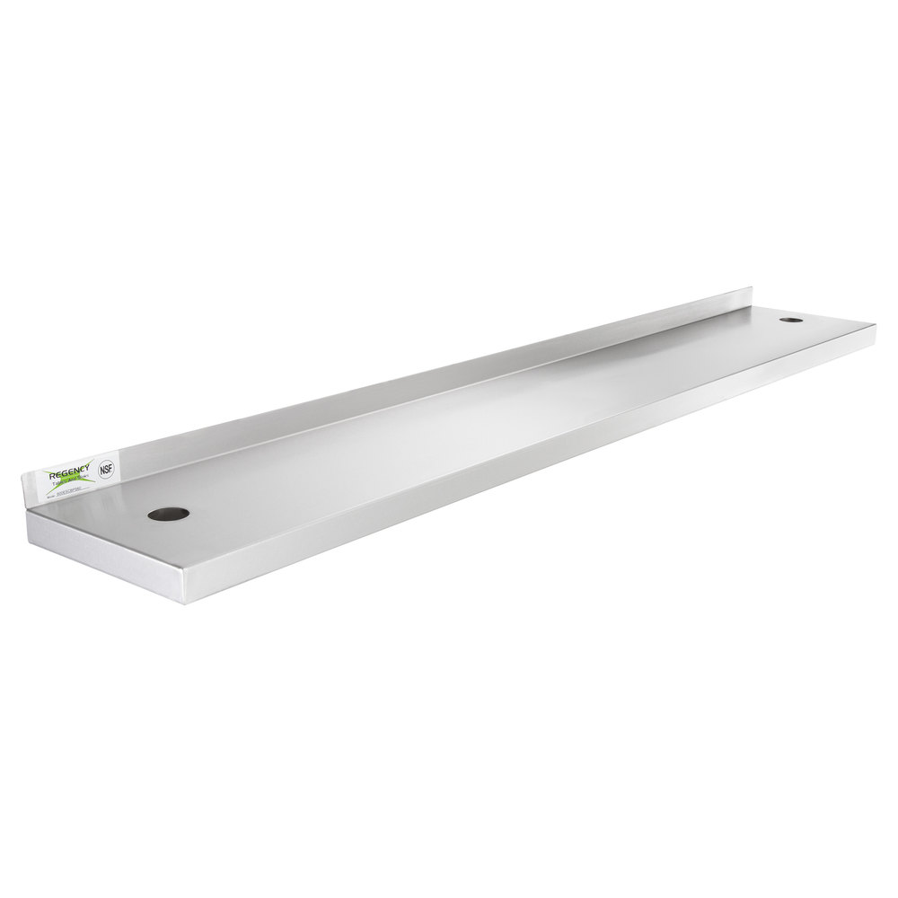Regency 10 inch x 60 inch Stainless Steel Plate Shelf for 60 inch Long Equipment Stands