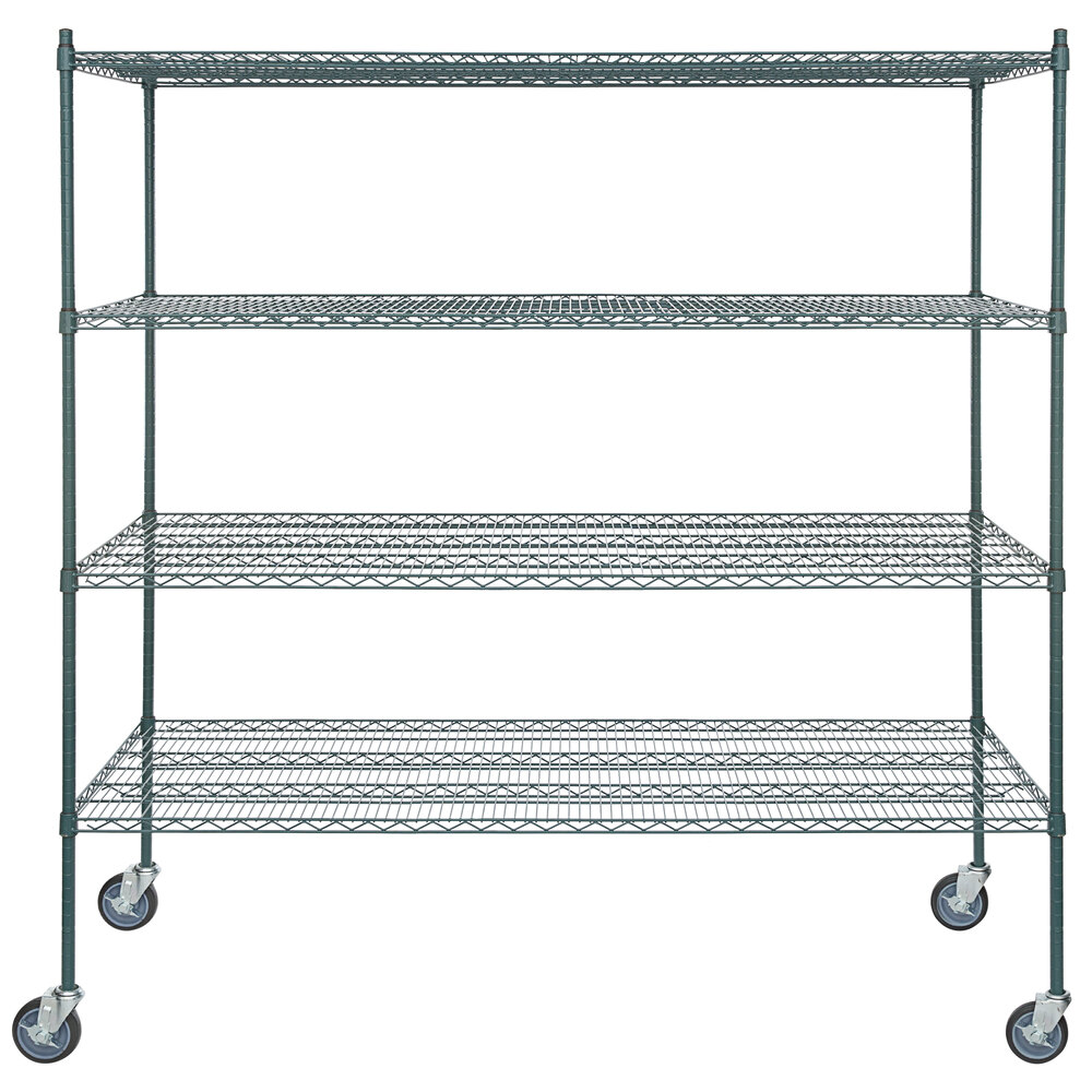 Regency 30 inch x 72 inch NSF Green Epoxy 4-Shelf Kit with 64 inch Posts and Casters