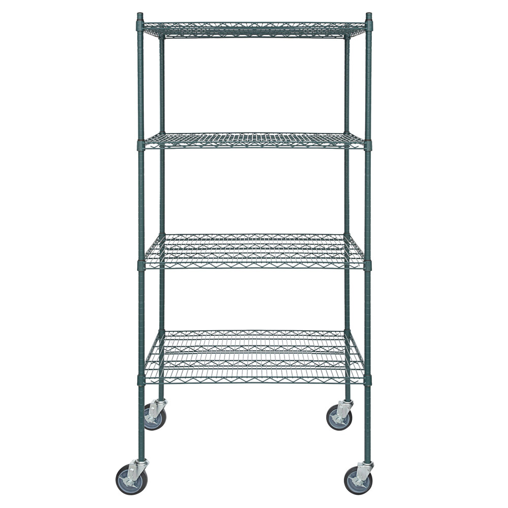 Regency 30 inch x 36 inch NSF Green Epoxy 4-Shelf Kit with 64 inch Posts and Casters