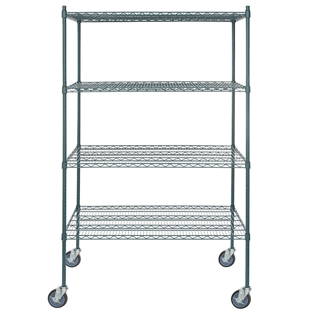 Regency 30 inch x 48 inch NSF Green Epoxy 4-Shelf Kit with 64 inch Posts and Casters