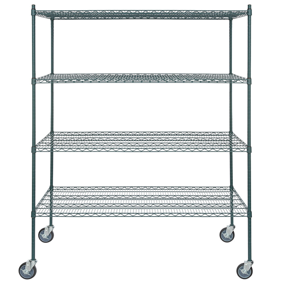 Regency 30 inch x 60 inch NSF Green Epoxy 4-Shelf Kit with 64 inch Posts and Casters