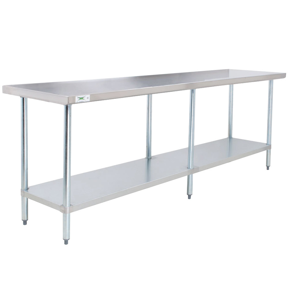 Restaurant stainless steel kitchen work prep table nsf chef shelf com - Regency 24 X 96 18 Gauge 304 Stainless Steel Commercial Work Table With Galvanized Legs And Undershelf