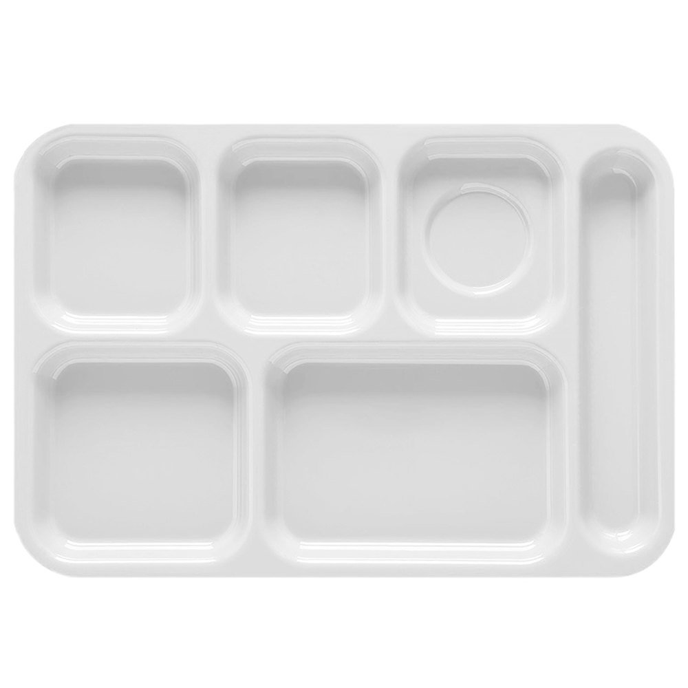 "GET TR-152 10"" x 14 1/2"" White ABS Plastic Right Hand 6 Compartment Tray - 12/Pack"