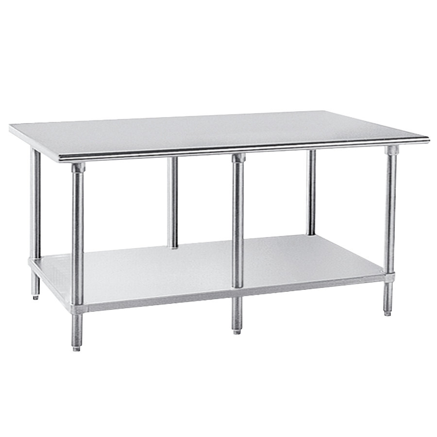 "Advance Tabco AG-2412 24"" x 144"" 16 Gauge Stainless Steel Work Table with Galvanized Undershelf"