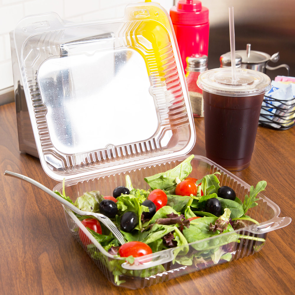 "Durable Packaging PXT-895 Duralock Tall 8"" x 8"" x 3"" One-Compartment Clear Hinged Plastic Container - 250/Case"