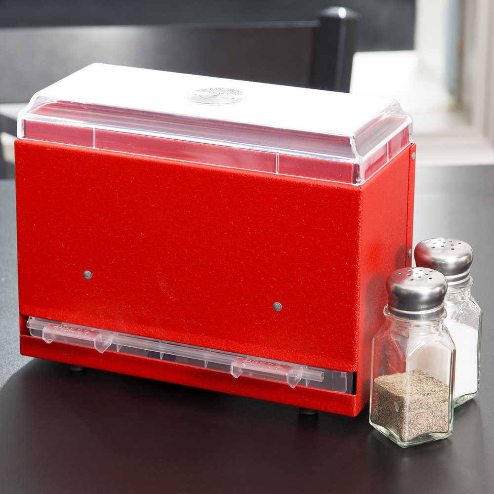 Vollrath 3825-02 Straw Boss Single Sided Bulk Straw Dispenser - Red
