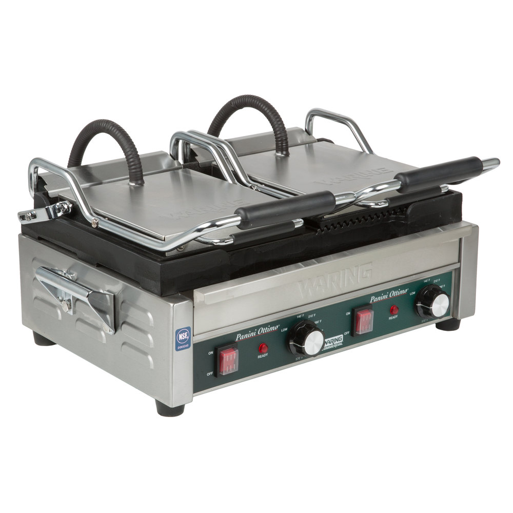 Waring Wdg300 Two Grooved Two Smooth Plate Panini Sandwich Grill 17 X 9 1 4 Cooking Surface 240v 3120w