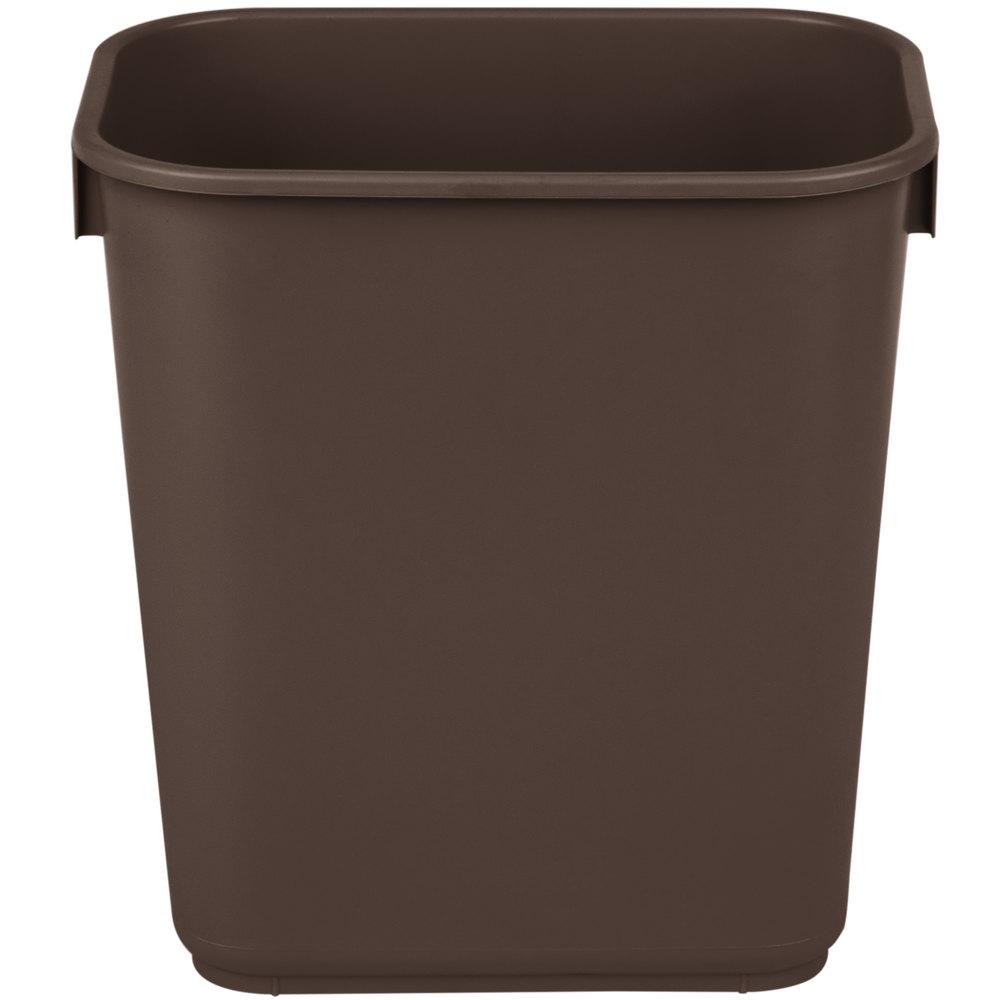 Continental 1358bn 13 6 qt 3 gallon brown rectangular wastebasket trash can - Rectangular garbage cans ...