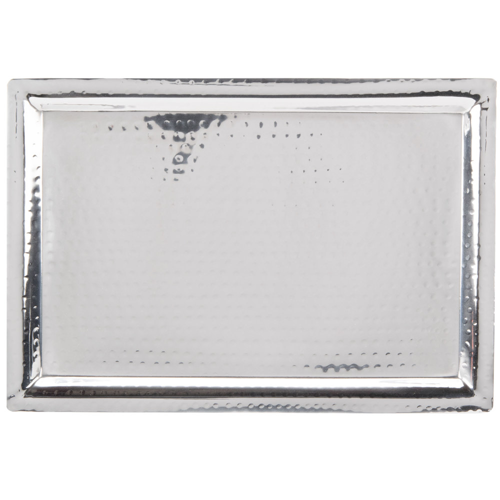 "American Metalcraft HMRT1611 Hammered Rectangle Tray - 16 3/8"" x 11 1/4"""