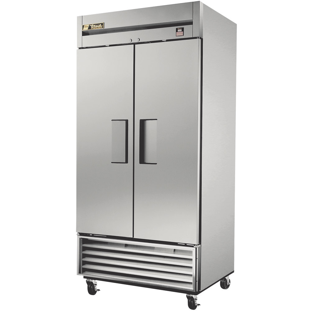 "True TS-35F 40"" Stainless Steel Two Section Solid Door Reach in Freezer - 35 cu. ft."