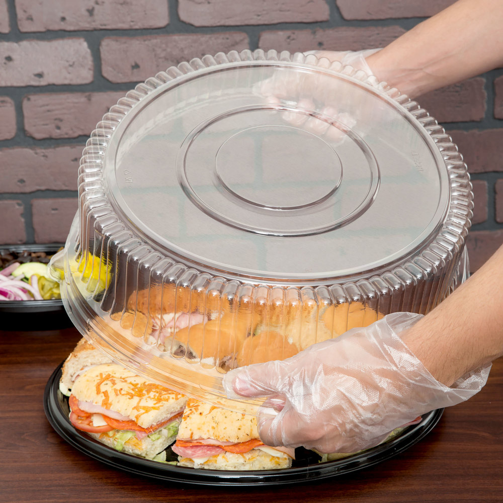 "Sabert 5516 16"" Clear Dome Lid for Round Catering Tray - 3/Pack"