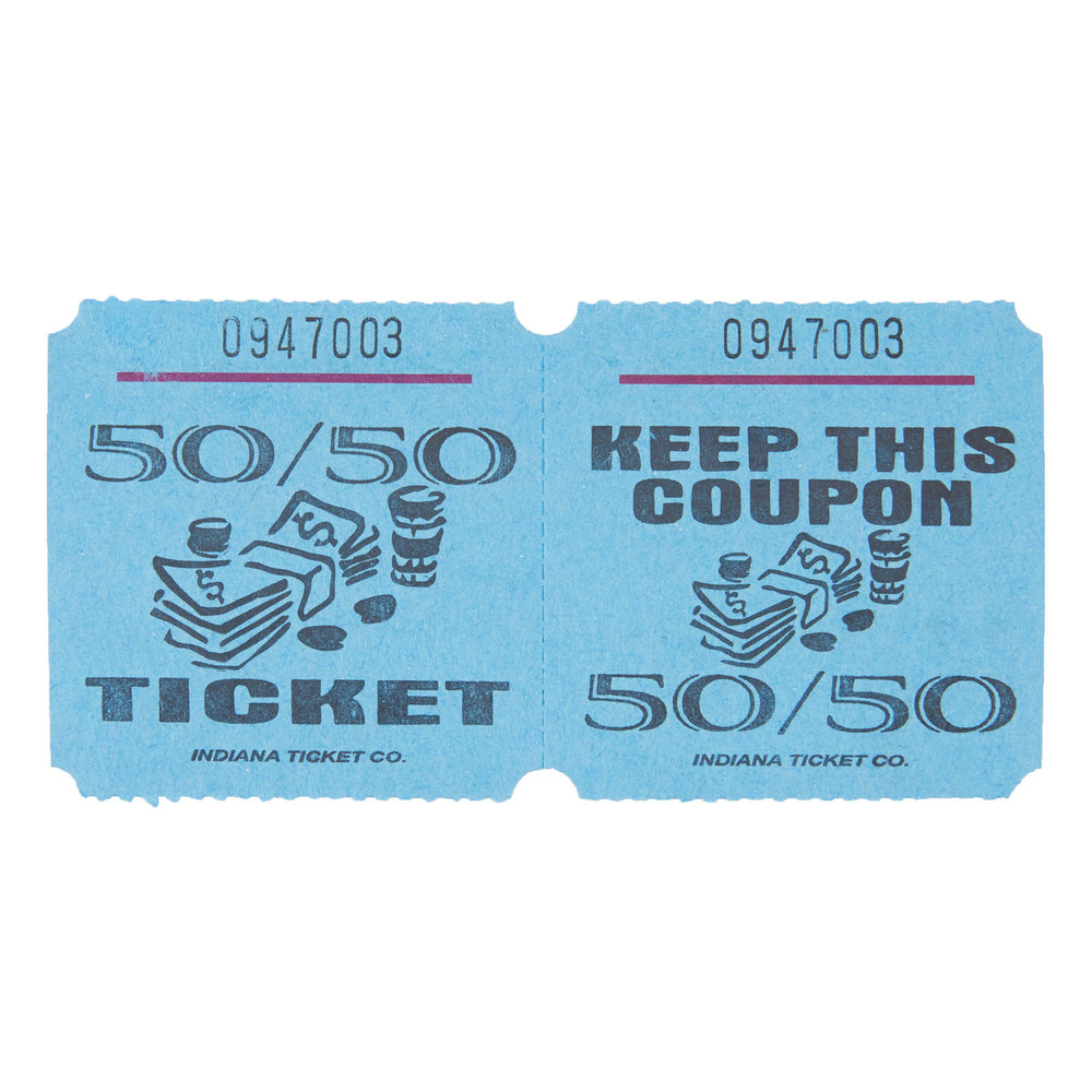 blue 50 50 marquee raffle tickets 1000 roll