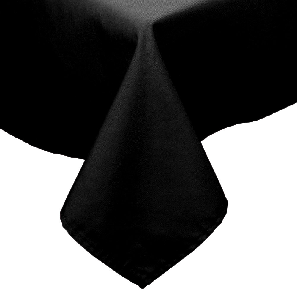"72"" x 72"" Black 100% Polyester Hemmed Cloth Table Cover"