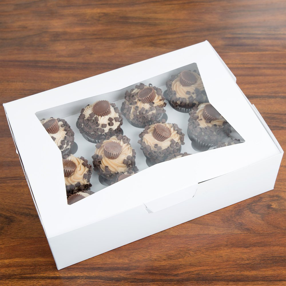"Southern Champion Window Cupcake Box with Insert 14"" x 10"" x 4"" - 10/Pack"