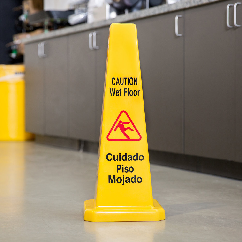 "27"" Wet Floor Cone-Shaped Sign"