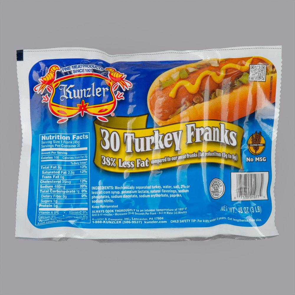 30 Count 10/1 Size Turkey Franks - 8/Case