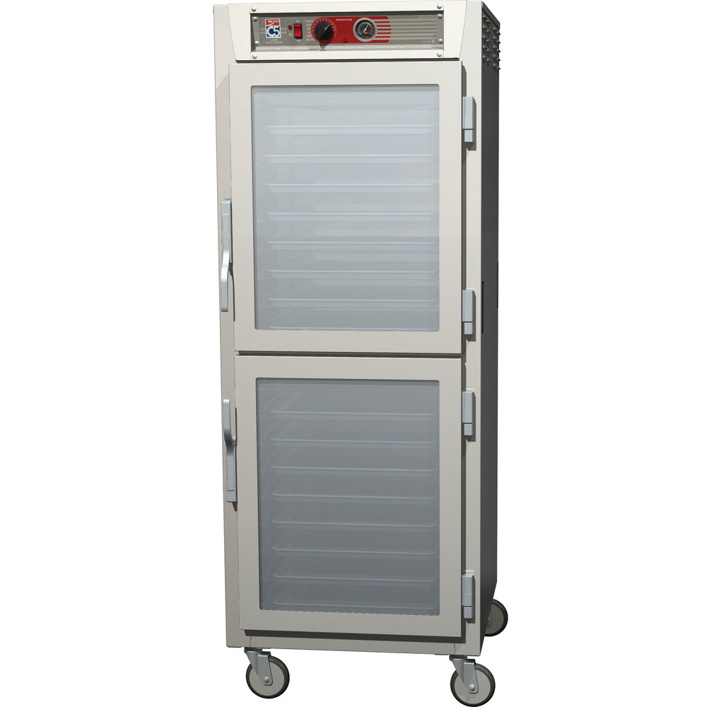 Metro C569-SDC-UPDS C5 6 Series Full Height Reach-In Pass-Through Heated Holding Cabinet - Clear / Solid Dutch Doors