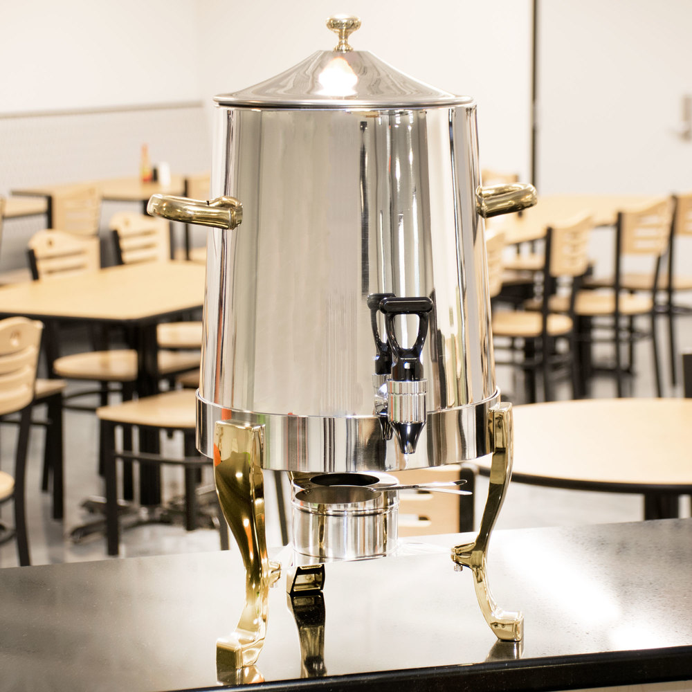 Choice Deluxe Stainless Steel Coffee Chafer Urn with Gold Accents - 3 Gallon