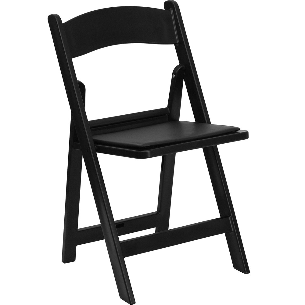 Black Plastic Folding Chair With Padded Seat