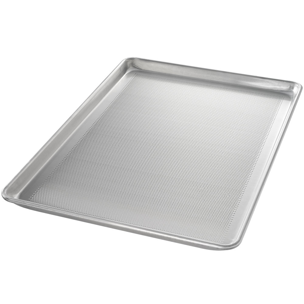 "Chicago Metallic 44896 StayFlat Perforated Full Size 18 Gauge Glazed Aluminum Sheet Pan - Wire in Rim, 18"" x 26"""