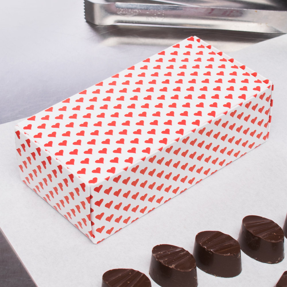 "5 1/2"" x 2 3/4"" x 1 3/4"" 1-Piece 1/2 lb. Valentine's Day Heart Candy Box - 250/Case"