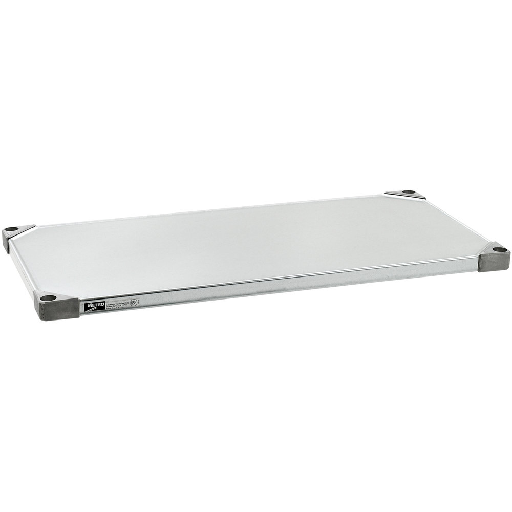 "Metro 1830FG 18"" x 30"" 18 Gauge Flat Galvanized Solid Shelf"