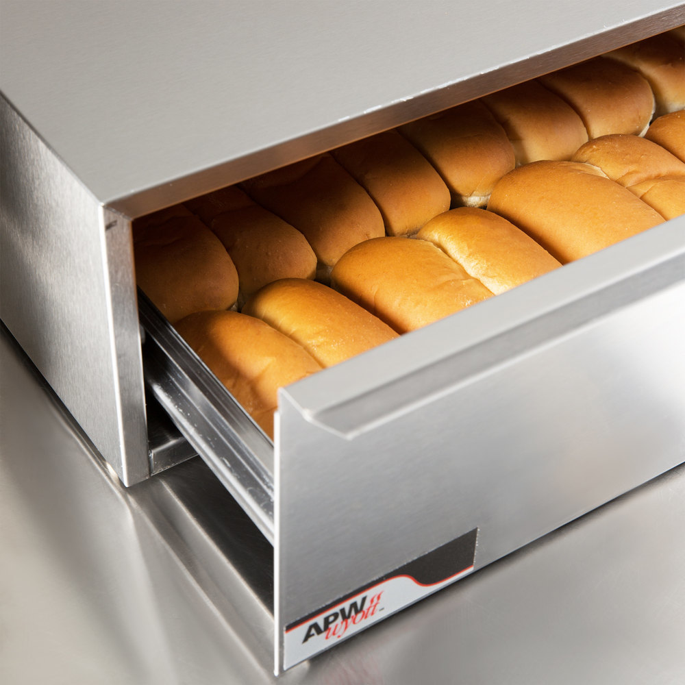 APW Wyott BWD-75 Dry Hot Dog Bun Warmer for HR-75 Series Hot Dog Roller Grills - Holds 40 Buns