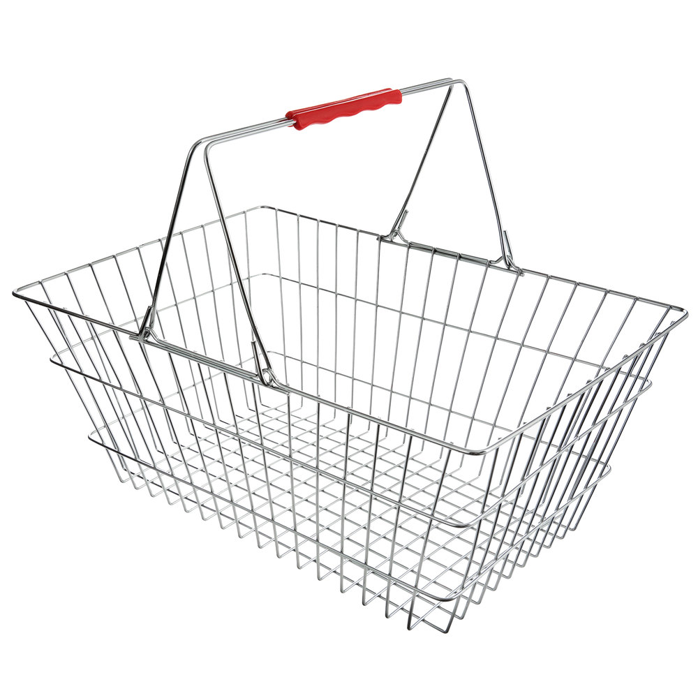 Regency 17 3/4 inch x 12 3/4 inch x 7 1/2 inch Chrome Grocery Shopping Basket with Red Handles