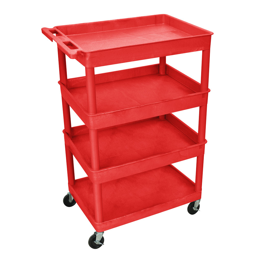 "Luxor RDTC1111RD Red 4 Tub Utility Cart - 24"" x 32"" x 44 1/2"""