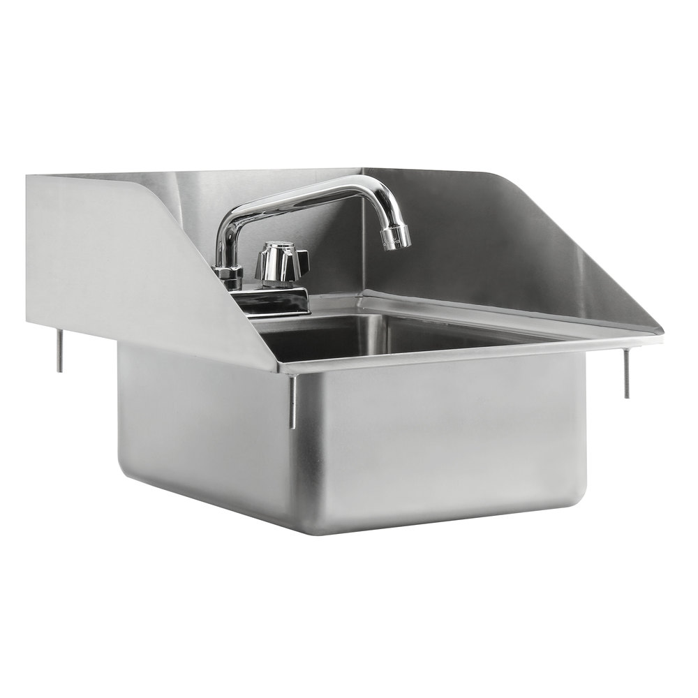 Regency 10 inch x 14 inch x 5 inch 16-Gauge Stainless Steel One Compartment Drop-In Sink with 8 inch Swing Faucet and Side Splashes