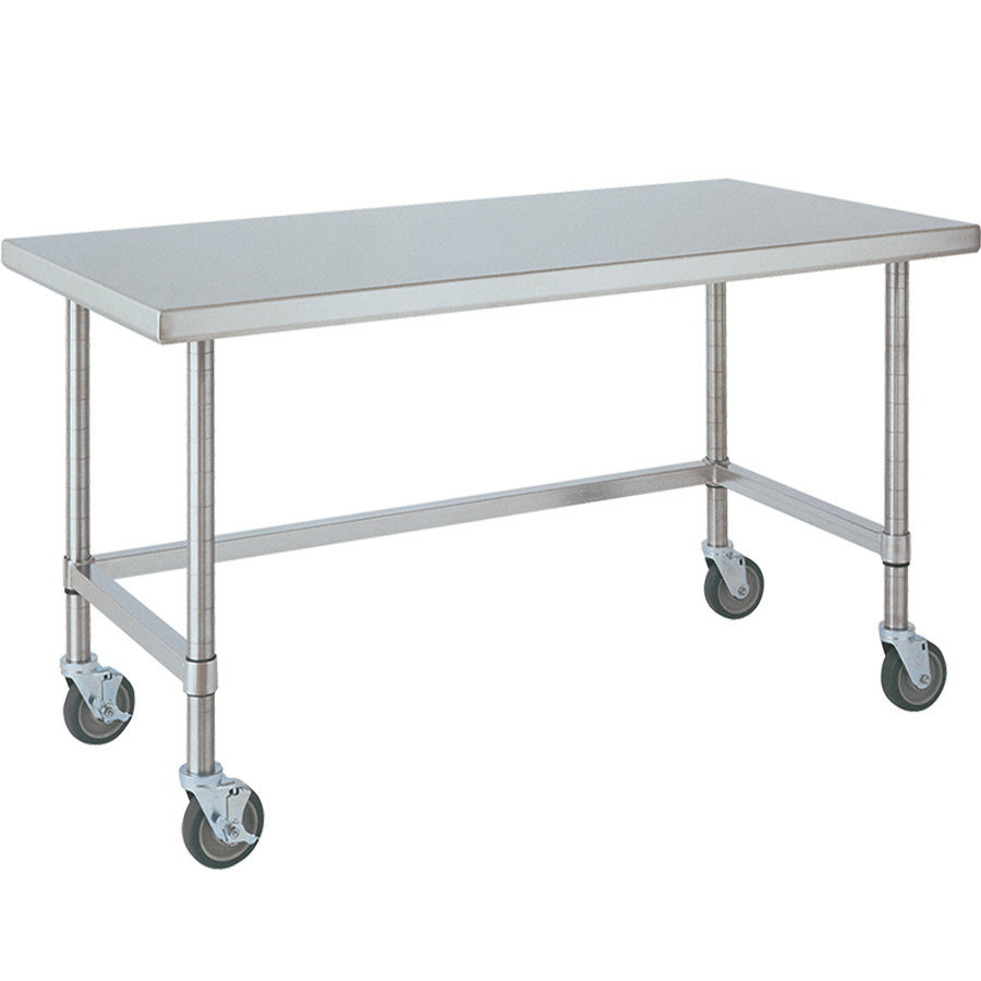 "14 Gauge Metro MWT309US 30"" x 96"" HD Super Open Base Stainless Steel Mobile Work Table"