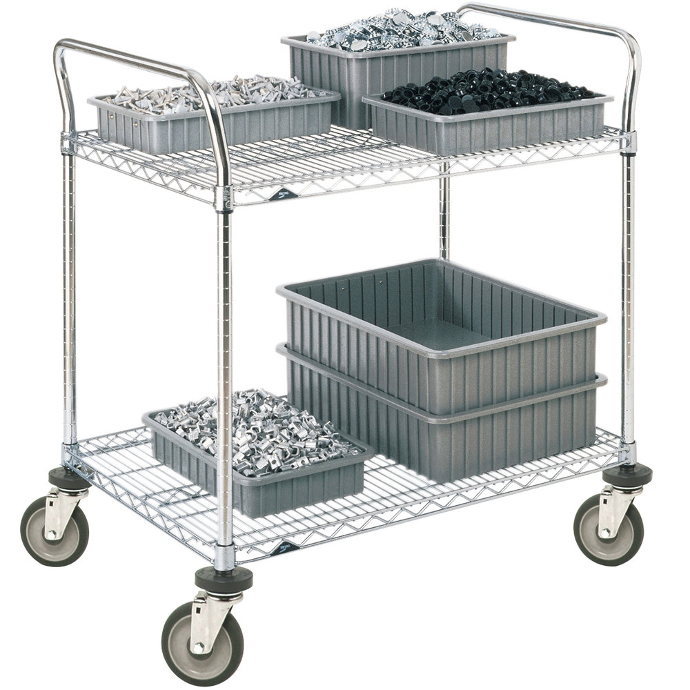 "Metro 2SPN55PS Super Erecta Stainless Steel Two Shelf Heavy Duty Utility Cart with Polyurethane Casters - 24"" x 48"" x 39"""