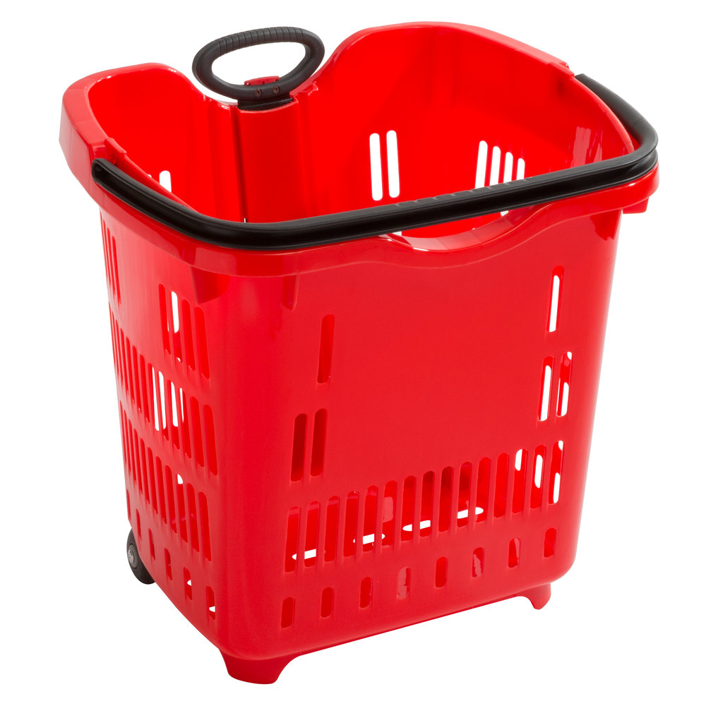 Regency Red 21 1/4 inch x 16 1/2 inch Plastic Grocery Market Shopping Basket with Wheels