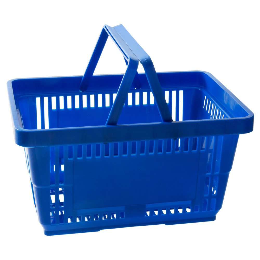 Regency Blue 16 1/8 inch x 11 inch Plastic Grocery Market Shopping Basket with Plastic Handles