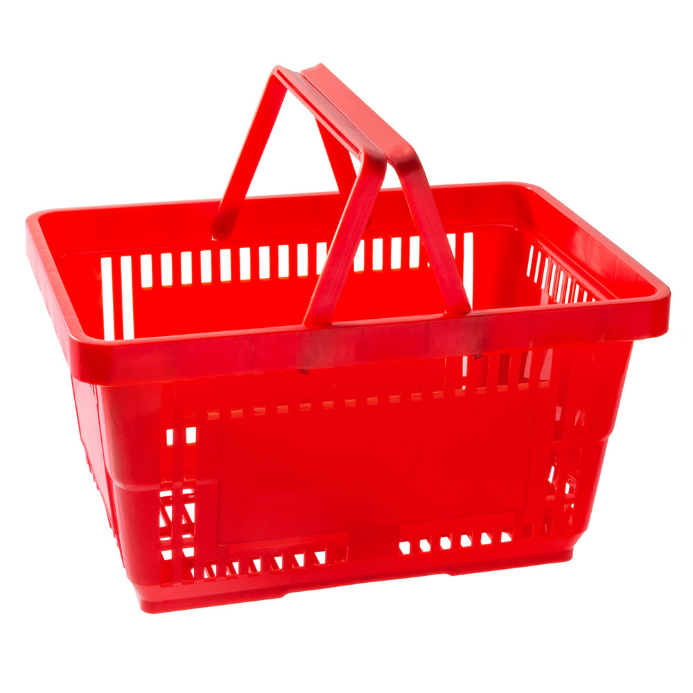 Regency Red 16 1/8 inch x 11 inch Plastic Grocery Market Shopping Basket with Plastic Handles - 12/Pack
