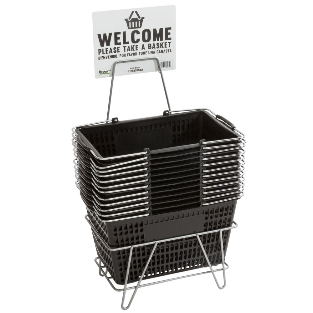 Regency Black 18 3/4 inch x 11 1/2 inch Plastic Grocery Market Shopping Baskets with Stand and Sign