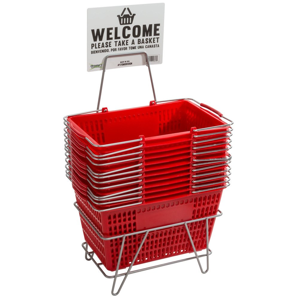 Regency Red 18 3/4 inch x 11 1/2 inch Plastic Grocery Market Shopping Baskets with Stand and Sign