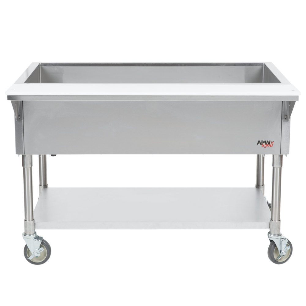 APW Wyott PCT-5S Five Pan Portable Cold Food Table with Stainless Steel Legs and Undershelf