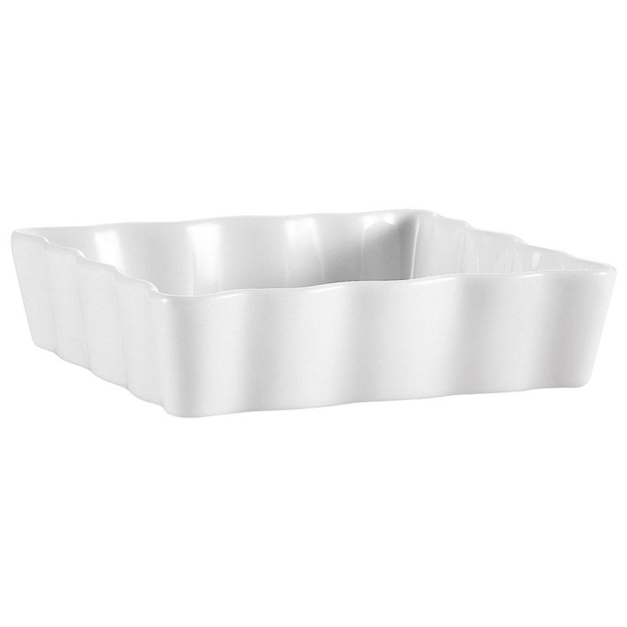 "CAC QCD-SQ6 White Square Fluted Quiche Dish 6"" - 36/Case"