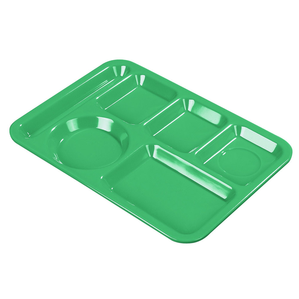 "Carlisle 61409 10"" x 14"" Green ABS Plastic Left Hand 6 Compartment Tray"