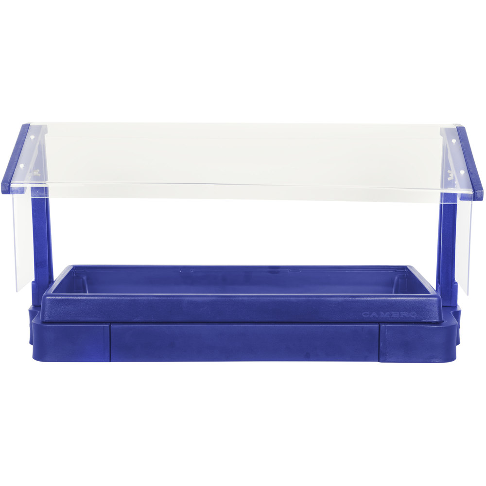 "Cambro BBR720186 74"" x 24"" x 25"" Navy Blue Buffet / Salad Bar with Free Standing Sneeze Guard"