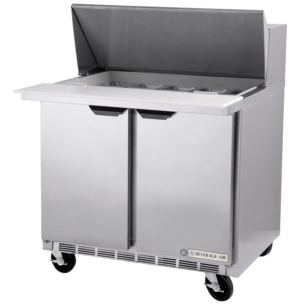 "Beverage Air SPE36-08C 36"" Refrigerated Salad / Sandwich Prep Table with 17"" Wide Cutting Board"