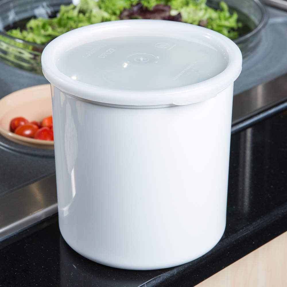 Cambro CP27148 White Round Crock with Lid 2.7 Qt. - 6/Case