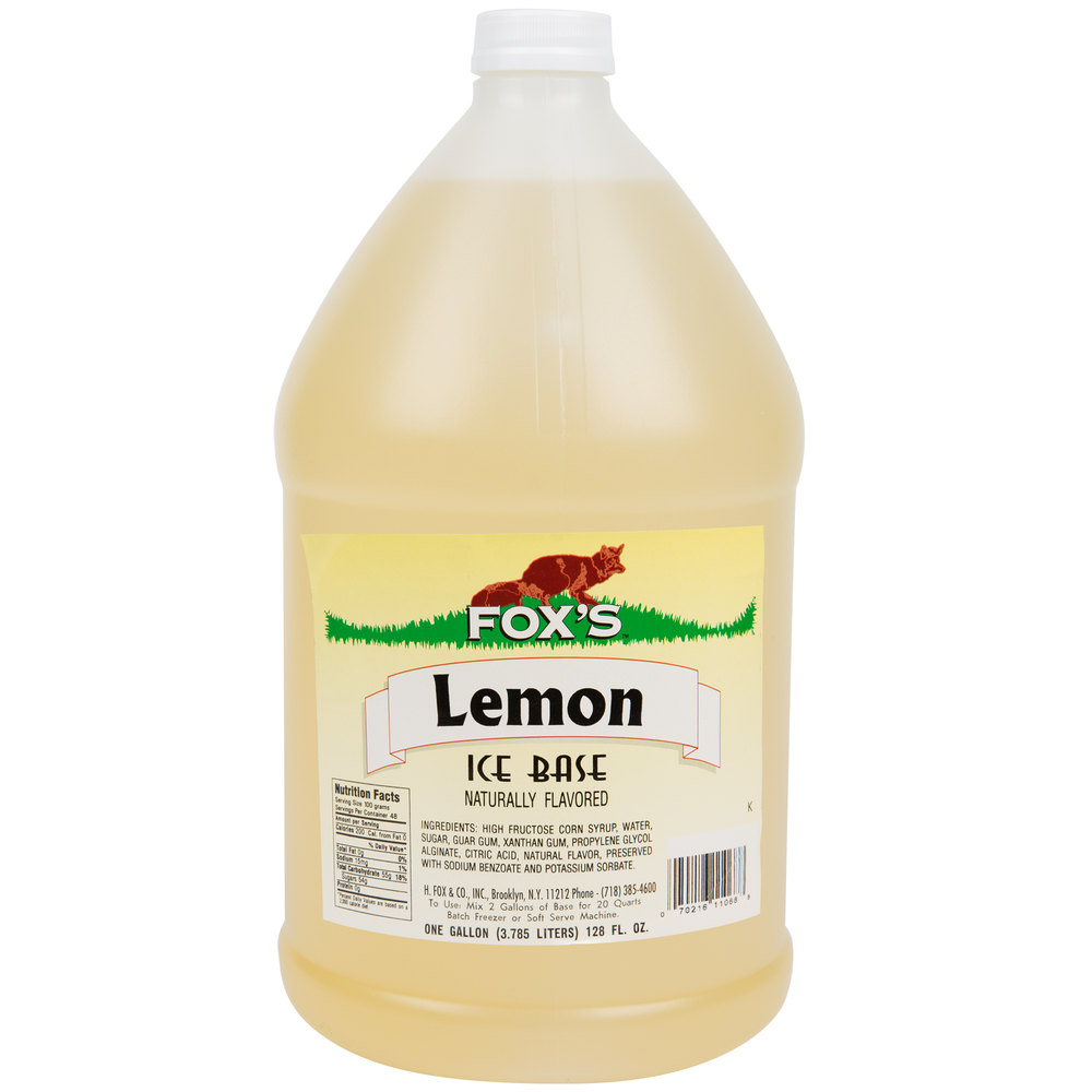 Fox S 1 Gallon Lemon Italian Ice Syrup Base 4 Case