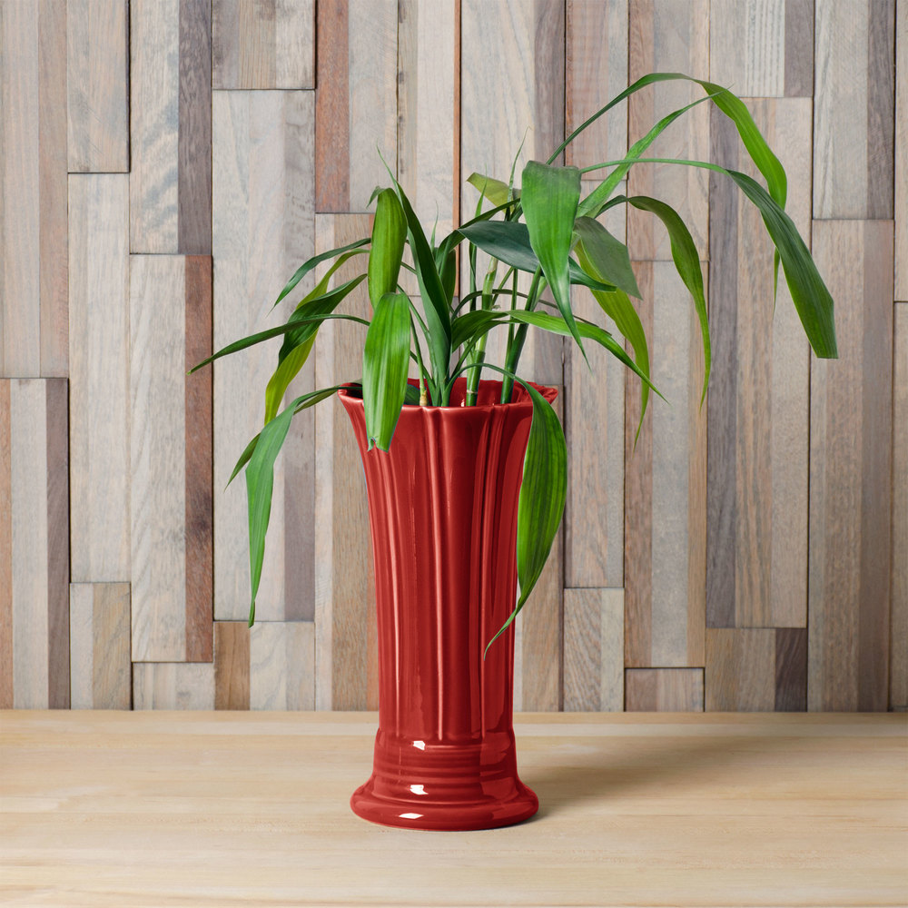 "Homer Laughlin 491326 Fiesta Scarlet 9 5/8"" Medium Vase - 4/Case"