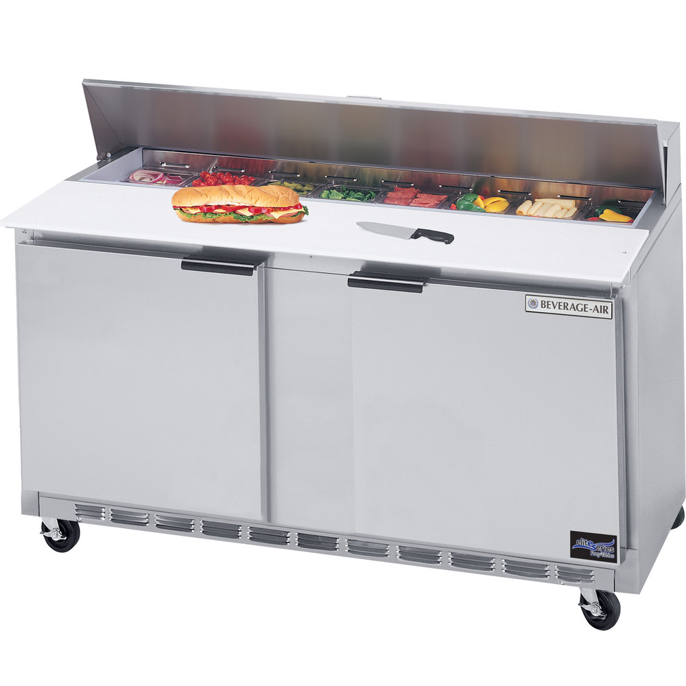 "Beverage Air SPE60-12C 60"" 2 Door Cutting Top Refrigerated Sandwich Prep Table with 17"" Wide Cutting Board"