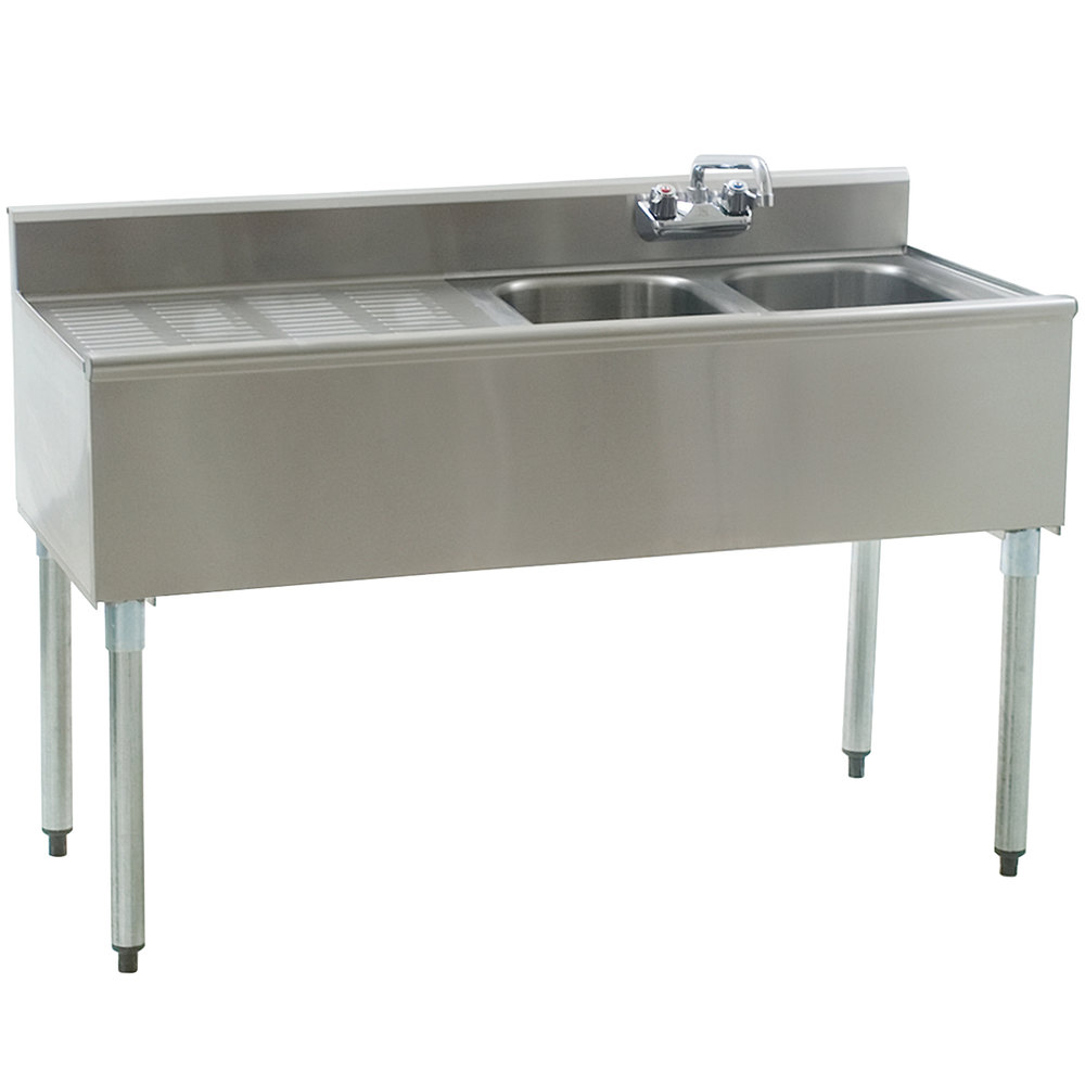 "Eagle Group B4L-2-18 Compartment Underbar Sink with 24"" Left Drainboard and Splash Mount Faucet - 48"""